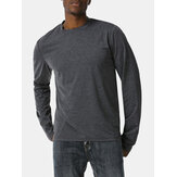 Original              Mens Sinple Round Neck Solid Color Long Sleeve High-low Hem T-Shirts