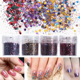 4 ollas 10ml Uña Art Brilho Lentejuelas de hoja de polvo Sparkly Colorful Christmas Iridescent Acrylic Tips