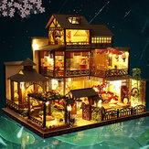 Skala 1:24 kreatywny domek dla lalek miniaturowy drewniany zestaw mebli Mini ręcznie robiony duży japoński dziedziniec Model Plus z LED i pozytywką