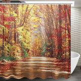 71''x71''tissuimperméablederideau de douche de polyester de modèle de feuilles d'automne avec 12 crochets