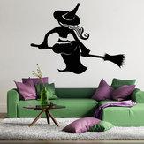 ТворческийнаклейканаклейкиведьмыСъемныйфестиваль Хэллоуина Декор Черный DIY Обои настенный наклейки Обои для рабочего с