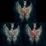 Vintage Angel Wings Ingelegd Diamond Vrouwen Ketting Vlinder Hanger Ketting Sieraden Gift