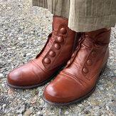 Plus Size Women Button Decor Side Zipper Low Heel Biker Boots