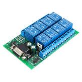 R221A08 Module de relais de port série 8CH DB9 UART RS232 Commutateur de télécommande 12V DC pour maison intelligente