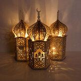 إسلام عيد رمضان مبارك زخرفة خشبية ذهبية LED ليلة فانوس الزيزفون ضوء