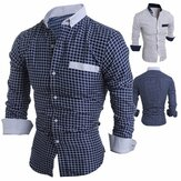 Mens Long Sleeve Plaid Printing Slim Fit Casual Designer Shi