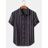 Mens Print Vertical Stripes Lapel Collar Casual Short Sleeve Shirts With Pocket