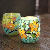 Mosaico artesanal de cristal Pastorale Flores Vela Palo Candelabro Titular de la vela Decoración para el hogar regalo