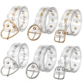 Transparent Women's Chic Wide Belt Pin Heart Round Shape Belt Buckle Clear Waist
