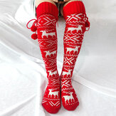 Women Cotton Christmas Festive Elk Pattern Warm Leggings Over Knee Stockings With Fluff