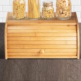 竹木材ロールトップパン箱収納ボックスキッチン食品ケースパンコンテナー