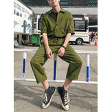 Men Solid Color Chest Pocket Drawstring Half Sleeve Rompers Pants
