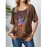 Cat Print O-neck Plus Size Casual Loose T-shirt