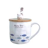 Cute Cerâmico Mug Cup Fish Padrão Com Wood Cat Shape Cup Cover e Colher Mug For Home School Office Decoração