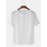Mens Cotton Breathable V Neck Solid Color Casual T-Shirts