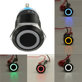 12V 19mm Auto-locking Push Button Switch Ring LED Flat Head 5 Pins Waterproof Switch
