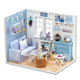 Creative DIY Handmade Assemble Doll House Miniature Furniture Kit με LED Effect Dust Proof Cover Toy for Kids Birthday Xmas Decoration House