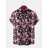 Mens Holiday Sakura Printing Short Sleeve Casual Shirts