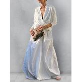 Women Solid Color V-Neck High Low Hem Blouse Elastic Waist Swing Skirts Two Piece Set