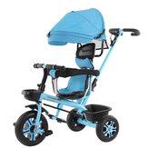 4 1 Ayarlanabilir Katlanır Bebek Çocuk Arabası Bisiklet 3 Tekerlek Binmek Trike Itme Bisiklet