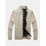 Mens Solid Color Zipper Knitted Baseball Collar Cardigans With Pocket