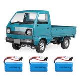 WPL D12 1/10 2.4G 2WD Caminhão militar rastreador fora de estrada RC carro modelos de veículos brinquedos diversos Bateria Lake Blue