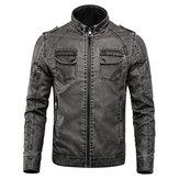 Winter Fleece Warm PU Faux Leather Motorcycle Biker Jacket