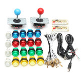 Full Colors Switch Buttons 2 USB Encoder 2 Joysticks DIY Kit Blue Red for Acarde Game Controller