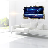 MIICO Creative 3D Universe Planet Broken Wall Habitación Desmontable Decoración de Pared Decorativa Pegatina