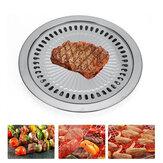 Placa de aço inoxidável 30 cm para churrasco Placa antiaderente para churrasco para churrasco para camping piquenique