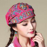 Vrouwen Etnisch Borduurwerk Katoenen Beanie Caps Vintage Goede Elastische Ademende Tulband Caps