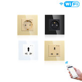 Moeshouse WiFi Smart Wall Enchufe Salida Panel de vidrio Smart Life / Tuya APP Control remoto EU FR UK AU