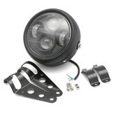 12V Black LED Motorcycle proiettore Fari con supporto Cafe Racer
