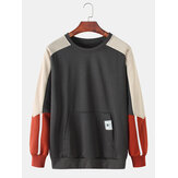 Mens Cotton Color Block Stitching Applique Casual Pouch Pocket Crew Neck Sweatshirts