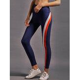 Damen Regenbogen-Streifen-hohe elastische Taillen-laufende Gamaschen