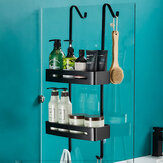 Black Hanging Bath Shelves Bathroom Shelf Organizer Nail-free Shampoo Holder