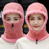Jednoczęściowa wełna unisex Plus Aksamitna, zagęszczona, ciepła, wiatroodporna ochrona szyi, dzianinowa czapka do jazdy