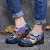 SOCOFY Retro Colored Flowers Embossed Comfy Genuine Leather Flat Shoes