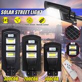 100/200/300 COB LED Solar Sokak Lambası PIR Hareket Radarı Sensör Outdoor Duvar Lambası + Uzaktan Kumanda