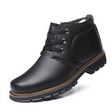 Men Comfy Microfiber Leather Warm Business Casual Winter Ankle Boots