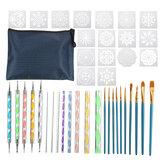 Conjunto de ferramentas de pontilhado de 41 unidades Mandala Kit de pintura em rocha Unhas Canetas de pontilhado de arte artesanal pintar Escovas Suprimentos de estêncil para adultos e crianças