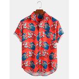 Pánské módní zvířecí vtipný tisk ztlumit límec ležérní košile