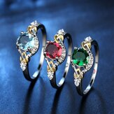 Cincin Jari Fashion Jantung Ganda Colorful Cincin Zirkon Mikro