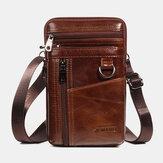 Hommes en cuir véritable 6,5 pouces support de sac de téléphone sac de ceinture sac de taille sac à bandoulière sac à bandoulière