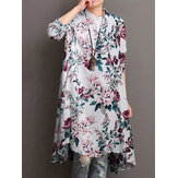 Women 100% Cotton Floral Print Stand Collar Long Sleeve Irregular Hem Vintage Blouses