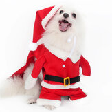 2020 Christmas Pet Dog Costumes with Hat Funny Santa Claus Costume for Dogs Winter Warm Coats Dog Clothes