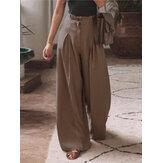 Yan Cepler ile Kadın Pamuk Pileler Elastik Bel Gevşek Rahat Geniş bacaklı Pantolon