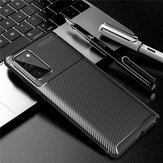 Bakeey for Samsung Galaxy Note 20 / Galaxy Note20 5G Case Luxury Carbon Fiber Pattern with Lens Protector Shockproof Silicone Protective Case