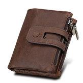RFID Blocking Secure Wallet 11 Kartensteckplätze Vintage Herren-Reißverschluss-Brieftasche aus echtem Leder