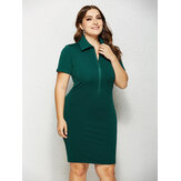 Women Zipper Turn-down Collar Tight Slim Work Dress